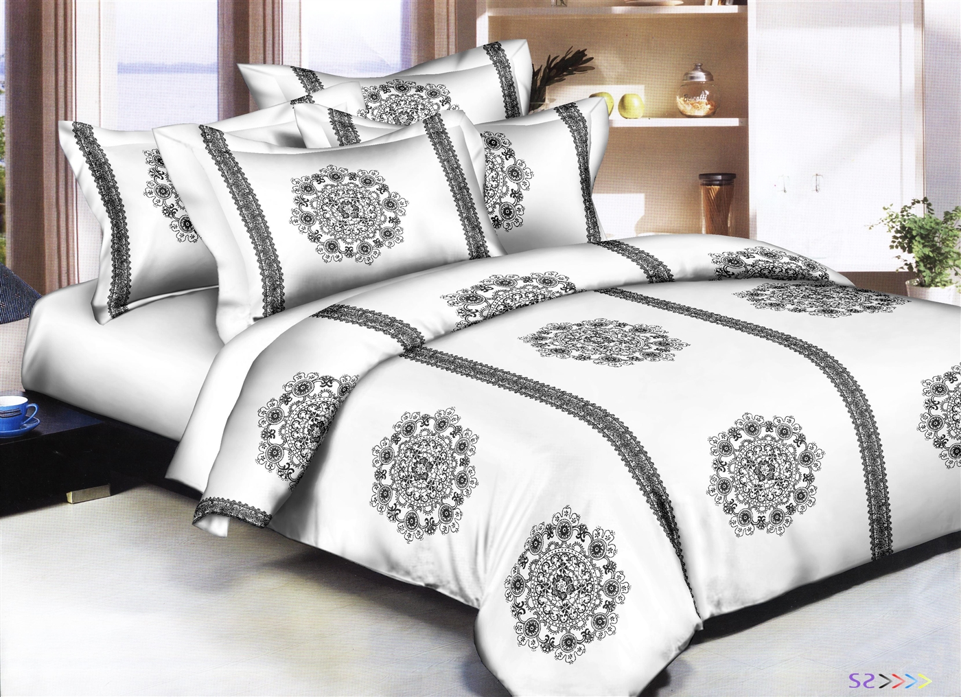 Better Bed Collection: Lacey Dollies White 8PC Bedding Sets - 300 Thread Count