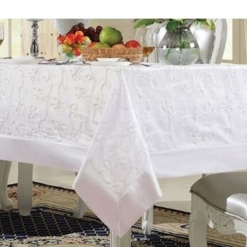 Bal Harbor, White Mesh Tablecloth - Luxury Table Covers