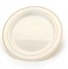 "9"" Ivory and Gold China Like Plastic Plates 120 Count"