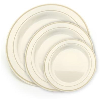 Ivory and Gold China Like Plastic Plates 120 Count high end disposable dishware discount  sc 1 st  The Closeout Connection : high end disposable plates - pezcame.com