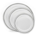 White and Silver China Like Plastic Plates 120 Count Case, case of high-end disposable dishware, discount luxury plastic party plates, heavy weight plastic china like plates for weddings or catered events.