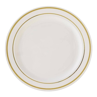 China Like Ivory Plastic Plates 10ct - Elegant Disposable Dishware