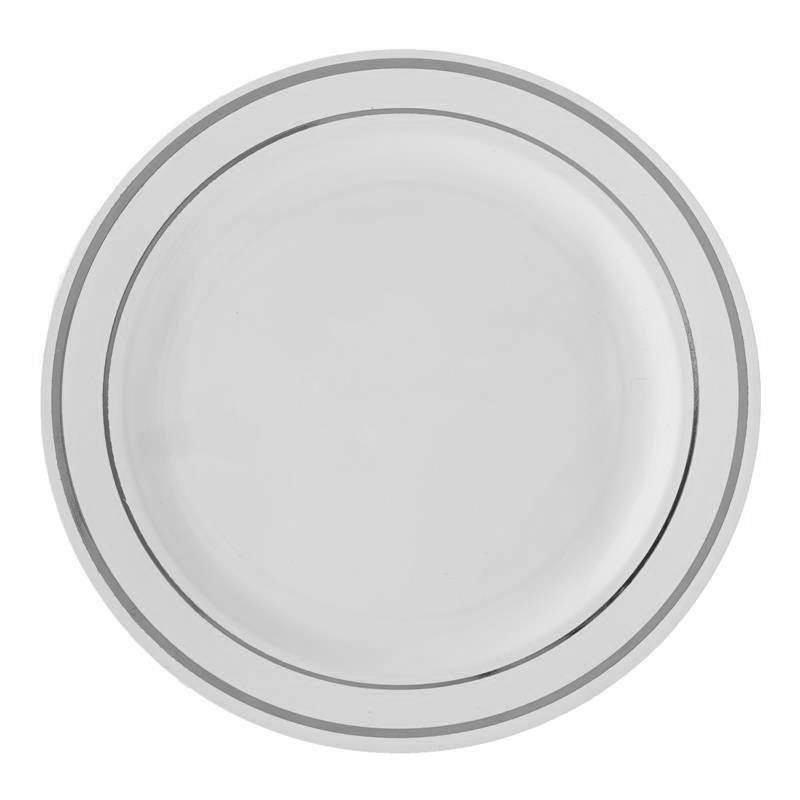 China Like White Plastic Plates - 10 Per Pack Larger Photo Email A Friend  sc 1 st  The Closeout Connection & White and Silver China Like Plastic Plates- 10 Count | Elegant ...