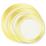 Crystal Collection Premium Plastic Plates - Ivory/Gold - 120 Count- Choose Plate Size