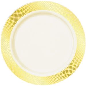 Crystal Collection Premium Plastic Plates - White/Gold or Ivory/Gold - 10 Count- Choose plate Size