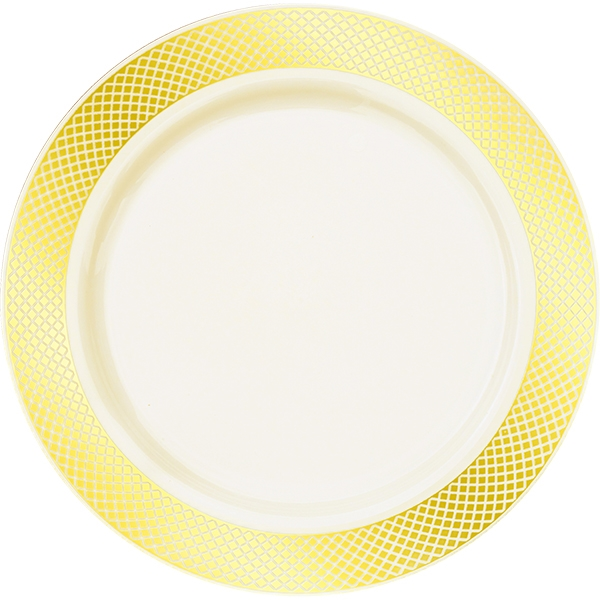 Crystal Collection Premium Plastic Plates - White/Gold or Ivory/Gold - 10 Count  sc 1 st  The Closeout Connection & Crystal Collection Premium Plastic Plates - Ivory/Gold - 10 Count