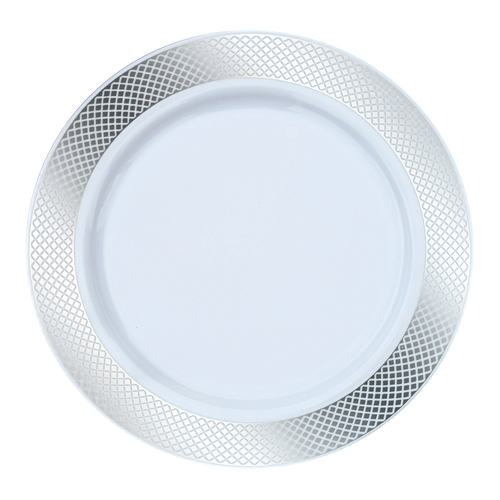 10.25  Crystal Collection Premium Plastic Plates - White/Silver - 10 Count  sc 1 st  The Closeout Connection & 10.25