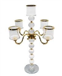 Five Arm Crystal Candelabra Centerpiece - Available in 2 Sizes
