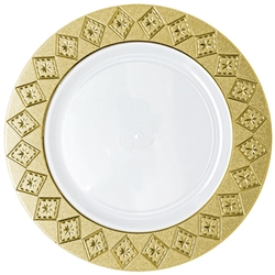 Decor Imperial Collection Gold/White Plates - 10 Count - Choose Plate Size