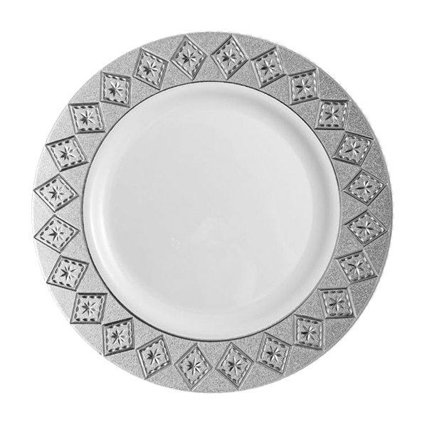 Decor Imperial Collection Silver/White Plates - 10 Count - Choose Plate Size