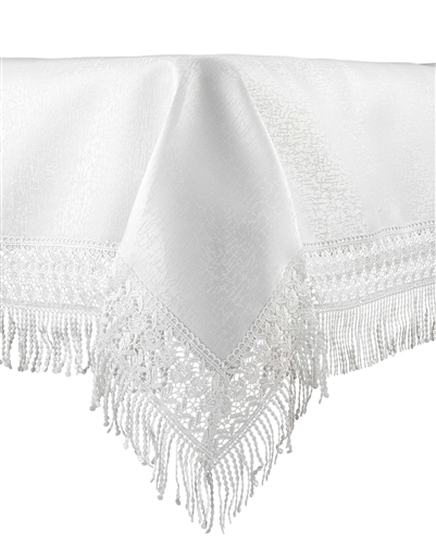 Marvelous FYH066 White Fringed Lace Tablecloth · Larger Photo Email A Friend