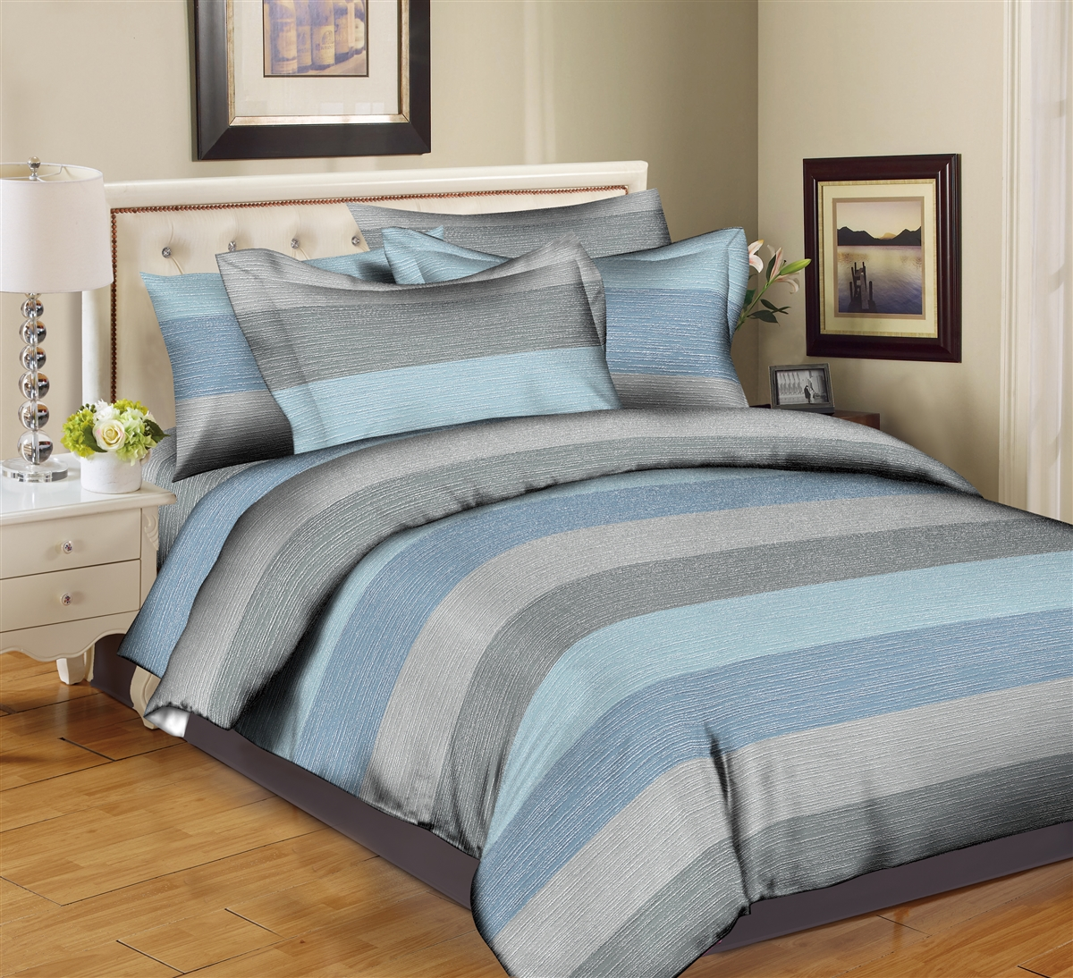 Better Bed Collection: Fine Lines- Blue 8PC Twin Bedding Set