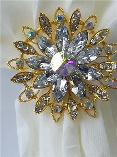of 4 Gold Diamond Flower Napkin Ring