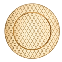 "Create elegant place settings with this Charge It by Jay! 13"" round gold tripoli glass charger plate! Boasting an upscale appearance, this charger plate is great for enhancing food presentations at your restaurant, catered event, or outdoor reception."