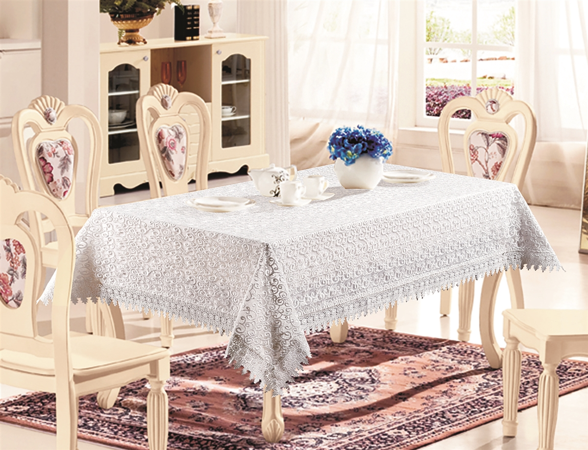 H250 Luxury Tablecloth in White, Gold and Silver