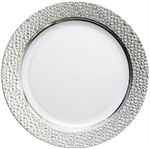"Hammered Collection 7"" Plates - White/Clear - 120 count"