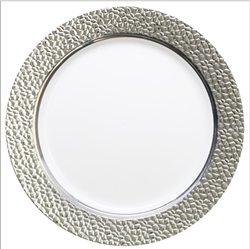 "Silver Touch Hammered Collection 9"" Plates - White/Clear - 120 count"