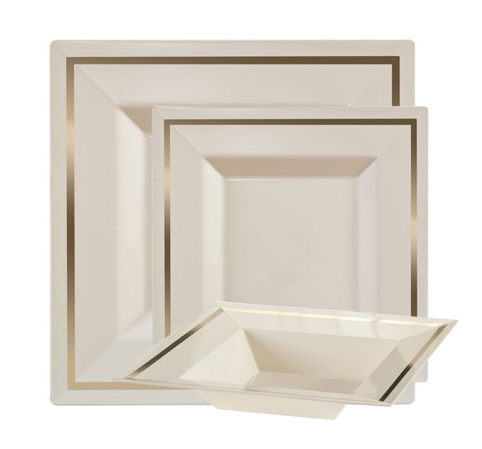Larger Photo Email A Friend  sc 1 st  The Closeout Connection & Imperial Plastic plates for weddings Ivory/Gold 10 Count
