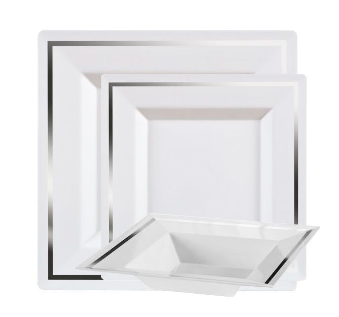Imperial Plastic Plates For Weddings White Silver 10 Count