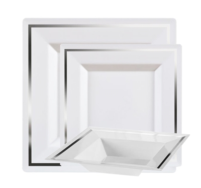 Imperial White and Silver Plastic Plates for weddings, Fancy disposable dinner party plates by the imperial collection