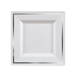 Imperial Plastic plates ...  sc 1 st  The Closeout Connection & Imperial Plastic plates for weddings White/Silver 10 Count