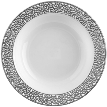 12oz Inspiration High End Bowls Plates White/Silver - 10 Count, elegant designer bowls