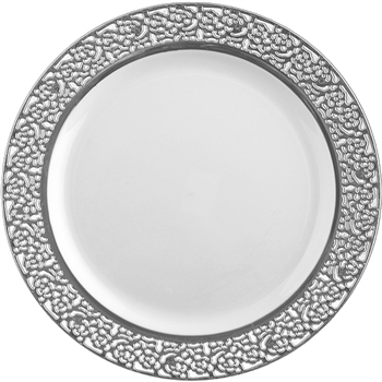Inspiration High End Plastic Plates White/Silver - 10 Count - Choose Plate Size