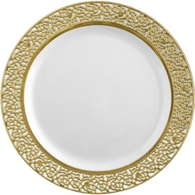 Inspiration High End Plastic Plates Gold/White - 10 Count - Choose Plate Size  sc 1 st  The Closeout Connection : white and gold dinnerware - pezcame.com