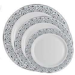 Inspiration High End Plastic Plates White/Silver - 120 Count - Choose Plate Size