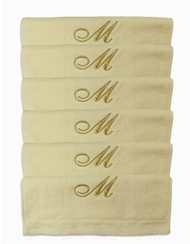 Six Monogrammed Fingertip Towel Set - Choose Letter/Color