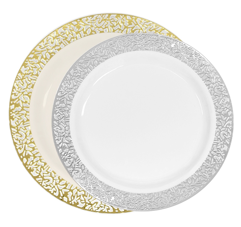 Luxury Lace Disposable Plastic Plates Ivorygold And Whitesilver