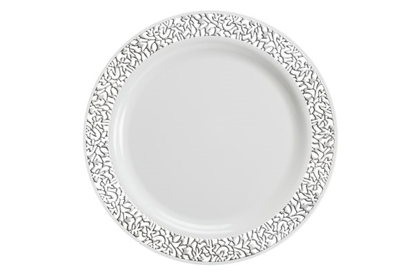 Lace Disposable plastic plates ...  sc 1 st  The Closeout Connection & Luxury lace Disposable plastic plates: Ivory/Gold and White/Silver ...