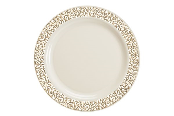 Luxury lace Disposable plastic plates: Ivory/Gold and White/Silver ...