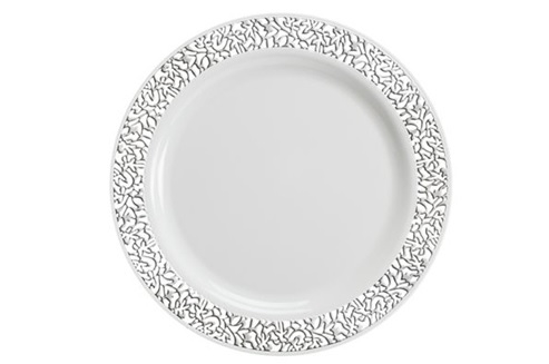 9  Luxury lace Disposable plastic plates Ivory/Gold and White/Silver 10 count  sc 1 st  The Closeout Connection & 9