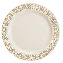 9  Luxury lace Disposable plastic plates Ivory/Gold and White/Silver 120 count  sc 1 st  The Closeout Connection & 9