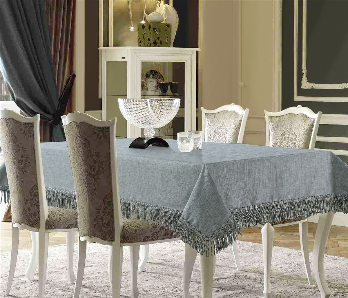 Silver Linen Like Tablecloth with Fringes