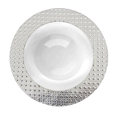 Majesty Dining Luxury Disposable Bowls - White/Silver- Choose Plate Size