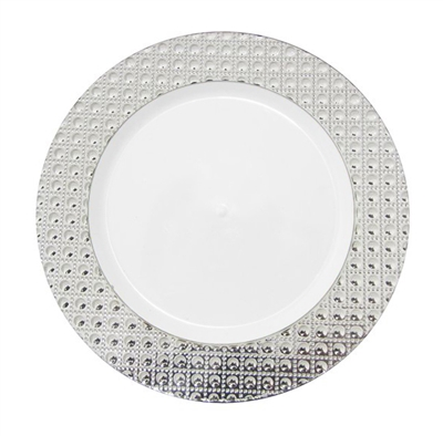 Majesty Dining Luxury Disposable Plates - White/Silver- Choose Plate Size
