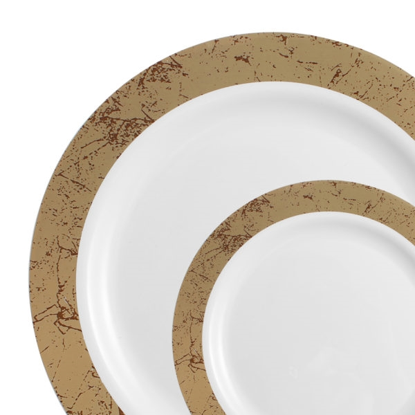 Marble Dinnerware Luxury Disposable Plates - White/Gold Marble - Choose Plate Size