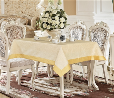 Monterey Ivory & Gold Taffeta Tablecloth