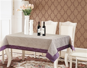 Monterey Gray & Violet Tablecloth - Luxury Table Covers