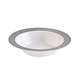 12oz My Party Collection White & Silver Bowls - 120 count
