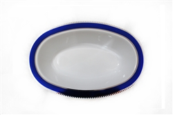 7oz Glamour Collection White w/ Silver and Metallic Blue Plastic Oval Bowls - 10 Count