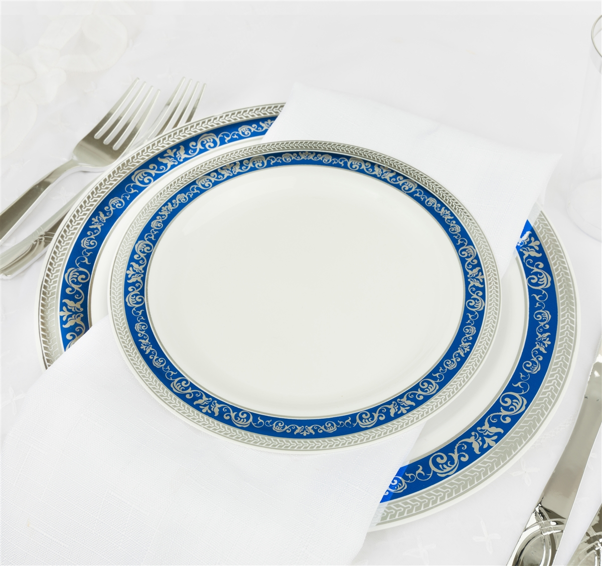 Royal Collection White W Silver And Blue Border