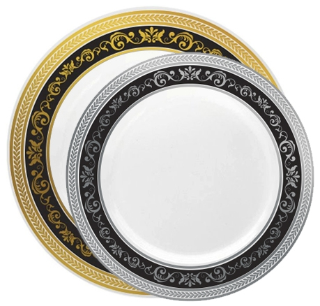 Decor Royal Plastic Plates - Gold/Silver or Black/Silver - 120 Count-  sc 1 st  The Closeout Connection & Royal Collection Premium Plastic Plates - 120 Count