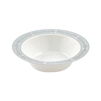 5oz Royalty High End Plastic Dessert Bowl - White/Silver - 10 Count oz