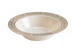 12oz Royalty High End Plastic Bowls  Ivory/Gold 120 Count