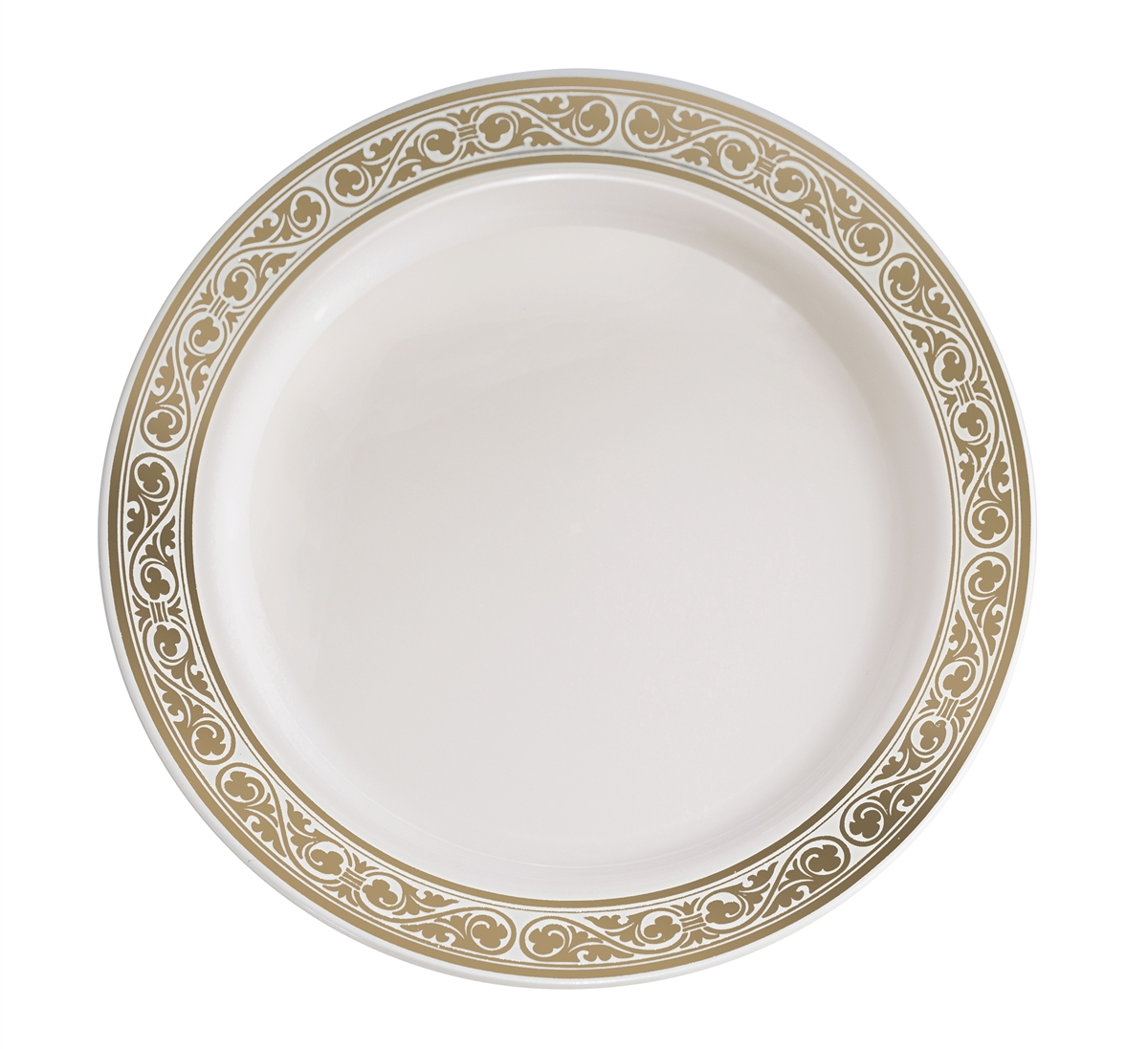 sc 1 st  The Closeout Connection & Royalty High End Plastic Plates - Ivory/Gold 10 Count