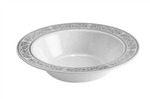 12oz Royalty High End Plastic Bowls  White/Silver 120 Count