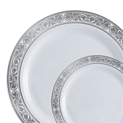 Royalty High End Plastic Plates White & Silver 10 Count